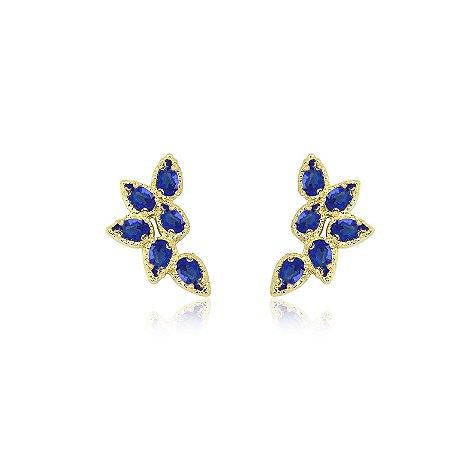 Brinco Ear Cuff com Zircônias na cor Azul