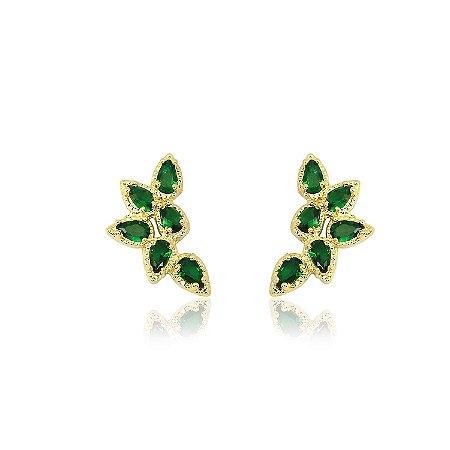 Brinco Ear Cuff com Zircônias na cor Verde Esmeralda
