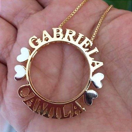 Mandala Dupla Personalizada Folheada a Ouro 18k