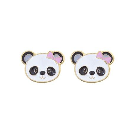 Brinco infantil panda folheado a ouro 18K