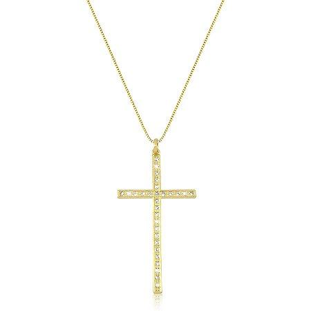 Colar de Cruz Zircônia Folheado a Ouro 18K