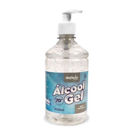Álcool Gel 70% Antisséptico Pump SEM PERFUME de 500 ml