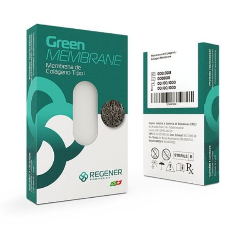 :: LANÇAMENTO 2020: Membrana de Colágeno GREEN MEMBRANE (40x25x1mm) - REGENER