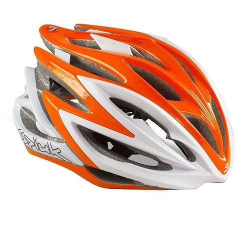 Capacete Para Ciclismo Spiuk Dharma Laranja e Branco - Mountain Bike ou Speed