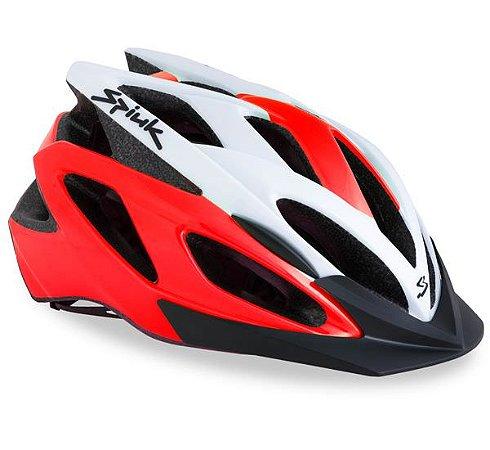 Capacete Para Ciclismo Spiuk Tamera Vermelho e Branco - Mountain Bike Ou Speed