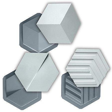 PRO 92 - Kit Formas ABS 1.5 mm Gesso/Cimento - Mini Sextavadas 3 de 19,5 x 22,5 cm
