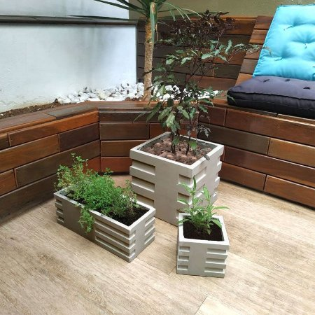 ART 841 - Kit 3 Formas - Vaso, Mini Vaso e Jardineira - ABS 1.5 mm 30x30, 40x15 e 15x15 cm
