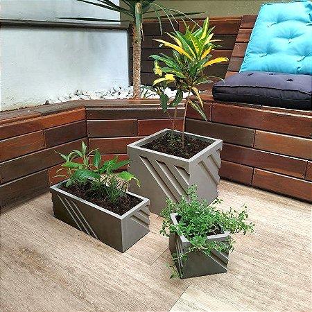 ART 842 - Kit 3 Formas - Vaso, Mini Vaso e Jardineira - ABS 1.5 mm 30x30, 40x15 e 15x15 cm