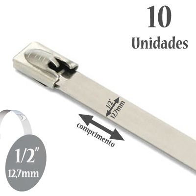Abraçadeira Auto travante de Aço Inox 304, Sem Revestimento, Largura: 1/2'' (12,7mm), 10 Unidades