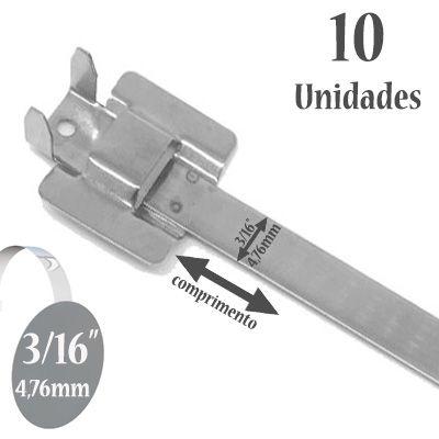 Abraçadeira Reutilizável de Aço Inox 316, Sem Revestimento, Largura: 3/16'' (4,76mm), 10 Unidades