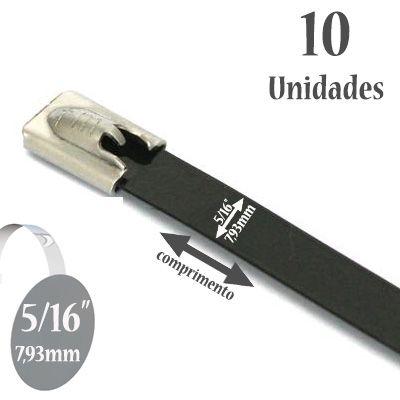 Abraçadeira Auto travante de Aço Inox 316, Revestida com Poliéster na Cor Preta, Largura: 5/16'' (7,93mm), 10 unidades