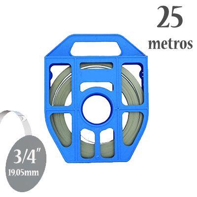 Fita de Aço Inox 430 Lisa, Largura: 3/4'' (19,05mm) x 0,5mm, Rolo com 25m e Caixa Plástica