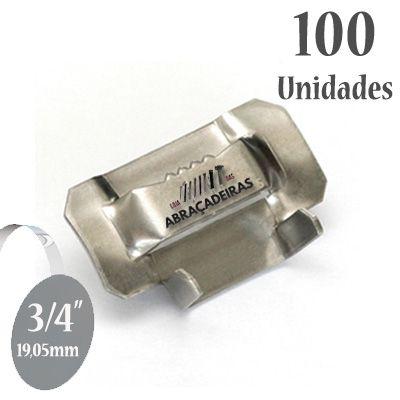 Fecho dentado de Aço Inox 304, 3/4'' (19mm) sem revestimento, pacote com 100