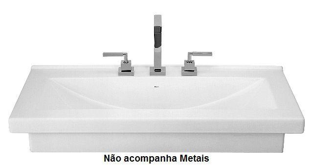 Cuba Apoio Retangular 92 X 45,5 x 16,5 cm Côncava com Mesa Branca Deca