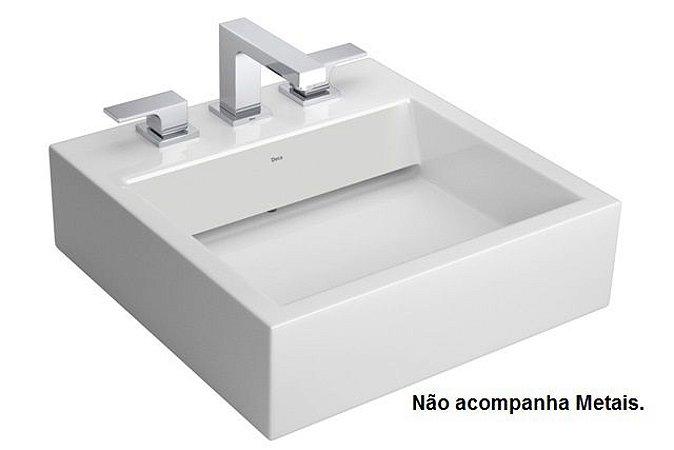 Cuba Apoio Quadrada 45 X 45 cm com Mesa e Válvula Oculta Branca Deca