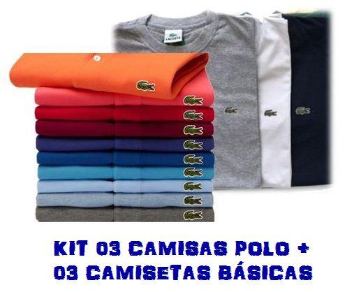 KIT COM 3 CAMISAS POLO E 3 CAMISAS BÁSICAS - LACOSTE - INOVA OUTLET ... ed5cf279f2883