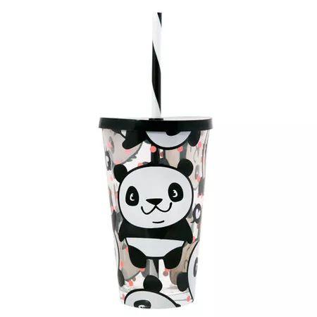 Copo de Vidro com Canudo - Panda