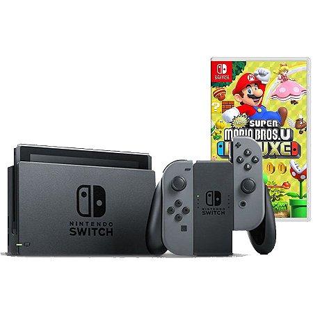 Nintendo Switch Cinza + New Super Mario Bros U Deluxe