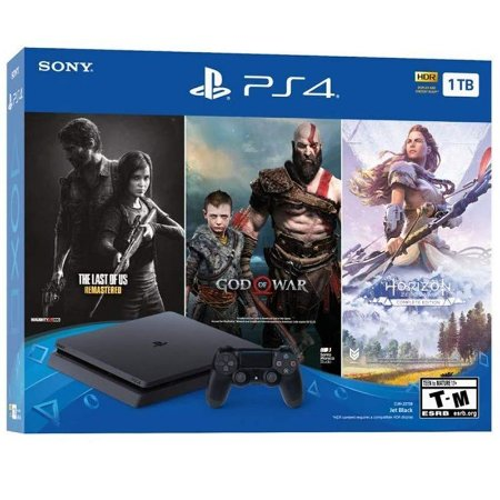 PlayStation 4 Slim 1TB Bundle com 3 jogos (The Last Of Us, God Of War, Horizon Zero Dawn)
