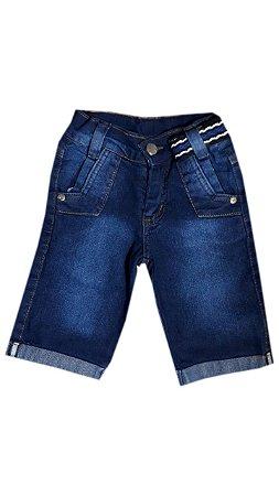 Short Jeans Infantil Masculino Azul Escuro com Cinto