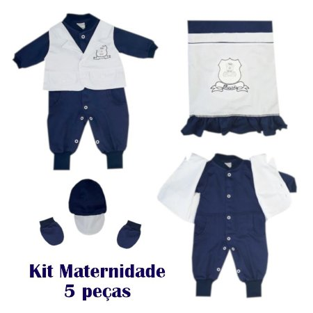 Saída Maternidade Macacão Masculino Azul Marinho