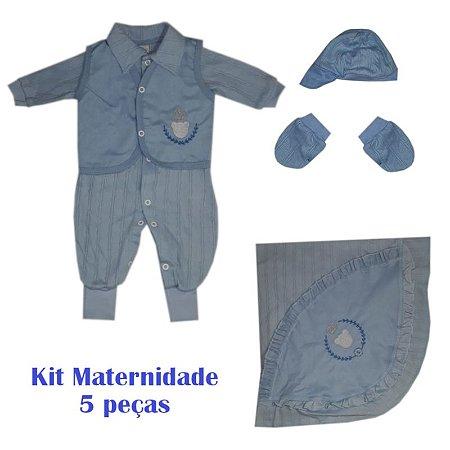 Saída Maternidade Macacão Masculino Azul bebe - Jujuba Kids f5b4f16a526