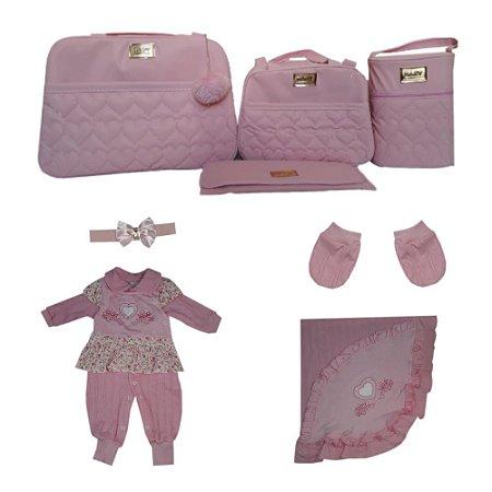 Sáida de Maternidade Rosa Completa 8 peças