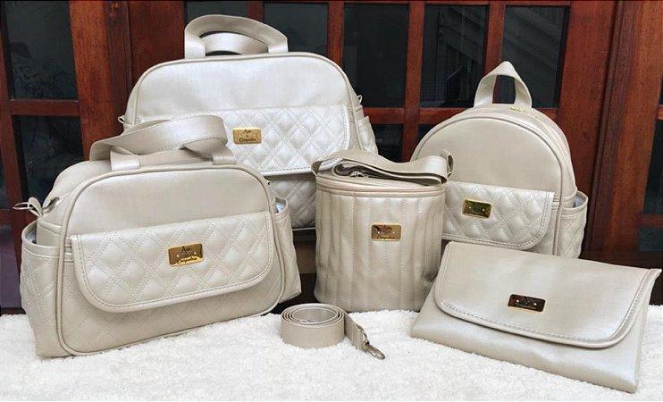 Bolsa Maternidade Bege Pérola Linho 5 peças Super luxo
