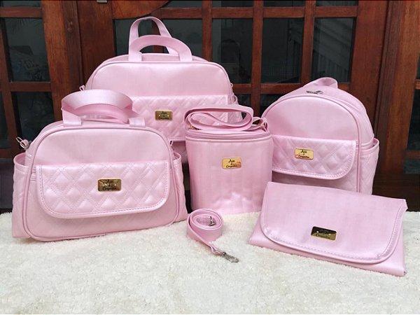 Bolsa Maternidade Rosa Bebê Linho 5 peças Super luxo
