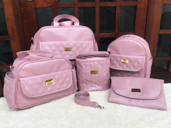 Bolsa Maternidade Rosê Linho 5 peças Super luxo