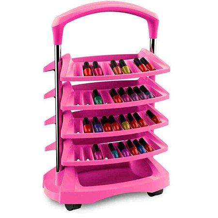 Carrinho Expositor Para 80 Esmaltes Diva 4 Bandejas Pink - Santa Clara