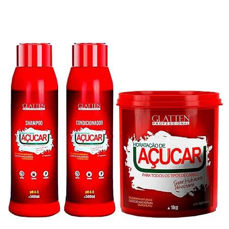 Glatten Shampoo + Condicionador + Mascara Açúcar