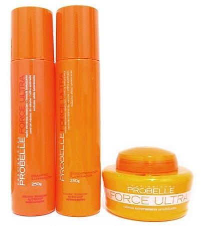 Kit Force Ultra Probelle - Shampoo/cond/máscara 250ml