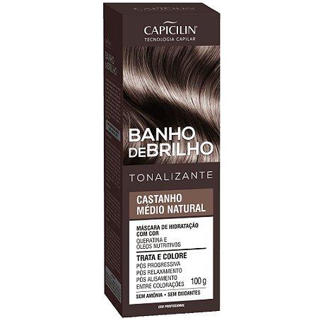 Tonalizante Banho de Brilho Castanho Médio Natural 100g Capicilin