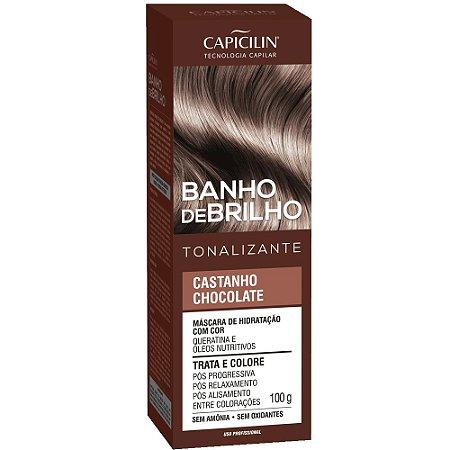 Tonalizante Banho de Brilho Castanho Chocolate 100g Capicilin