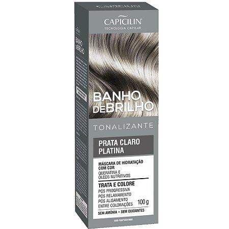 Tonalizante Banho de Brilho Prata Claro Platina 100g Capicilin