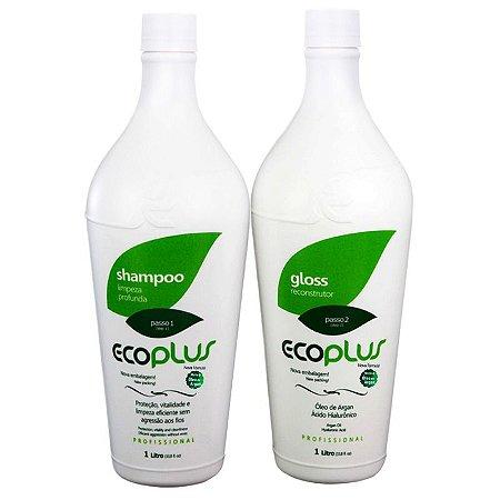 Ecoplus Escova Progressiva Gloss Óleo De Argan 2x1000ml