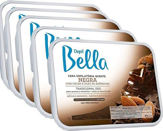 5 un Cera Depilatória Negra Depil Bella 1kg