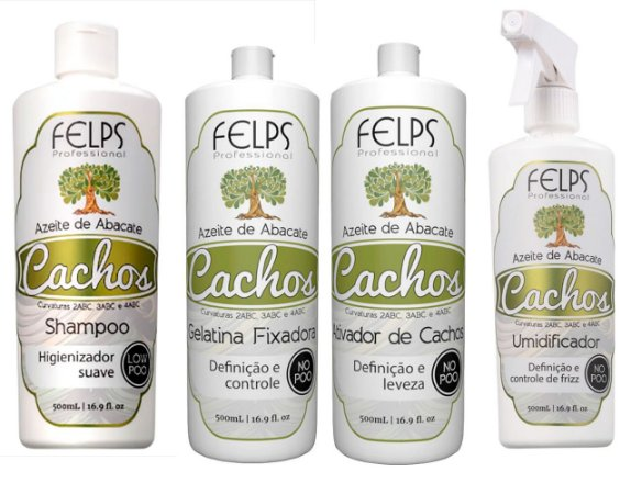 Kit Felps Cachos Azeite de Abacate 500 ml Sh +Gel+Ativ+Spray