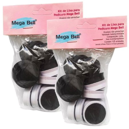 Kit Refil Para Pedicuro Mega Bell Com 12 Lixas 2 Pacotes
