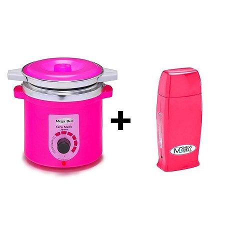 Panela Termocera De Cera +Refil 400g Pink +Roll On Pink Mega
