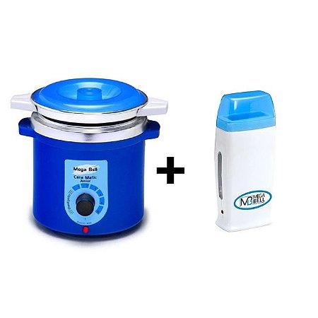 Panela Termocera Blue P/ Depilação 400g +Refil  +RollOn Azul