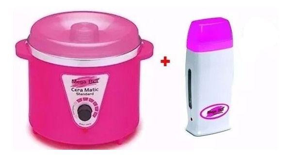 Termocera 400g pink - Panela Aquecedora De Cera + Roll On