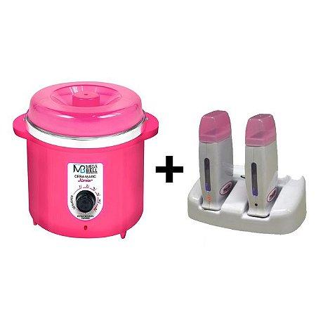 Termocera Pink MegaBell 400g + Base Dupla + 2 Roll On Rosa