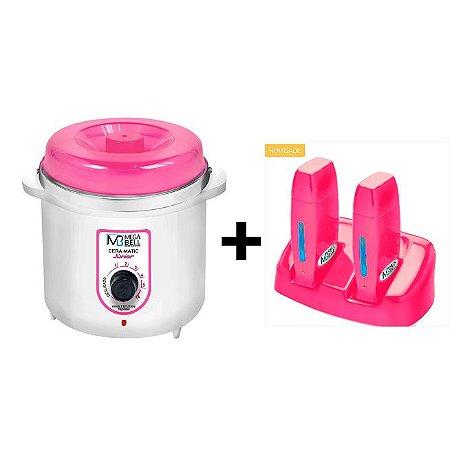 Termocera Rosa MegaBell 400g + Base Dupla + 2 Roll On Pink