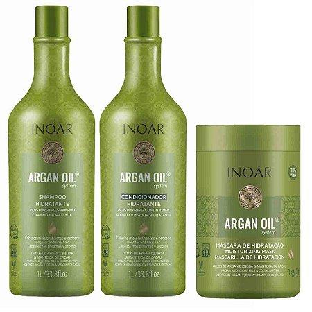 Kit Argan Oil System Salon Duo 1L + Máscara Vegan 1kg - Inoar
