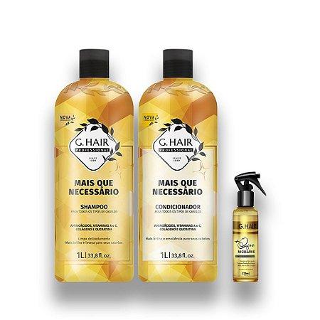 Kit G-Hair + Que Necessário Shampoo+ Condicionador 1l +Spray
