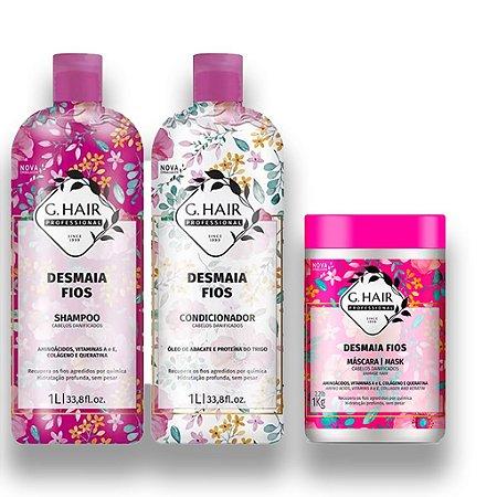 Kit Shampoo e Condicionador G.Hair Desmaia Fios +Máscara 1kg