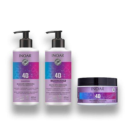 Inoar Shampoo + Condicionador 4D 400ml + Mascara 250g