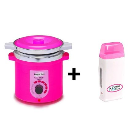 Panela Termocera De Cera +Refil 400g Pink +Roll On Rosa Mega
